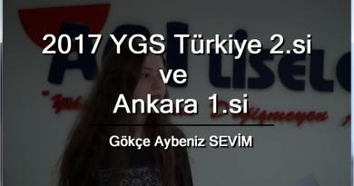 2017 YGS Türkiye 2. si ve Ankara 1. si