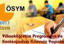 2017-ÖSYS Yükseköğretim Programları ve Kontenjanları Kılavuzu yayınlandı