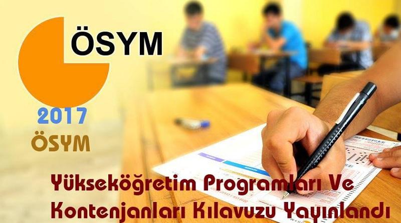 2017-ÖSYS Yükseköğretim Programları ve Kontenjanları Kılavuzu