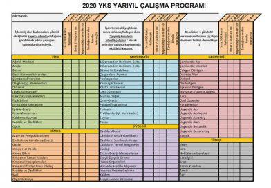 2020 Yarıyıl YKS Çalışma Programı